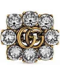Gucci - Bague Double G avec cristaux - Lyst