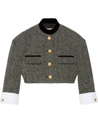 Gucci Check Tweed Jacket With Double G Buttons - Grey