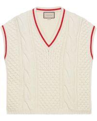 Gucci Cardigan en maille de laine à torsades - Blanc