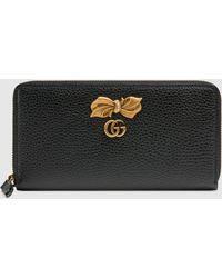 Gucci Brieftasche aus Leder mit Rundumreißverschluss und Schleife - Schwarz