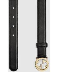 Gucci Gürtel mit GG Schnalle aus Leder - Schwarz