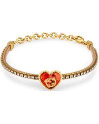 Gucci Bracelet avec cœur en cristaux et détail GG - Métallisé