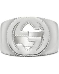 Gucci - Interlocking G Ring In Silver - Lyst