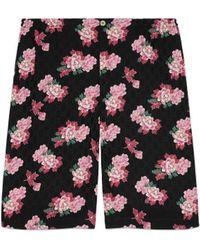 Gucci Short de seda con estampado de peonías - Negro