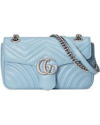 Gucci Borsa a spalla GG Marmont misura piccola - Blu