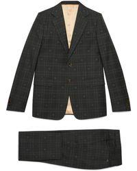 Gucci Costume laine à carreaux et abeille - Gris