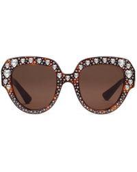 85be0b669daa78 Lyst - Lunettes de soleil œil-de-chat en acétate avec cristaux Gucci ...