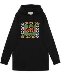 Gucci Hooded Dress With Logo Star Print - Black