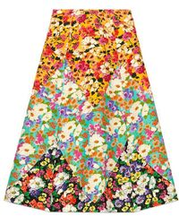Gucci Wildflowers Wool A-line Skirt - Multicolor