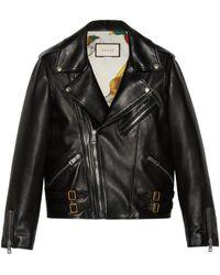 Gucci Veste motard en cuir plongé - Noir