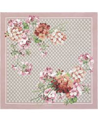Gucci GG Blooms Print Silk Scarf - Pink