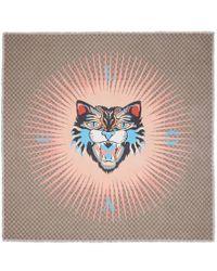 Gucci | Angry Cat Print Modal Silk Shawl | Lyst