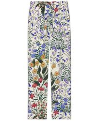 Gucci New Flora Print Silk Pyjama Pant - Blue