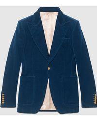 Gucci グッチベルベット フォーマルジャケット - ブルー