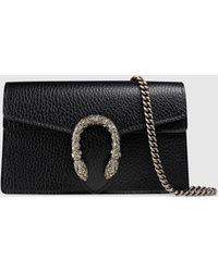 Gucci Dionysus Super-Mini-Tasche aus Leder - Schwarz