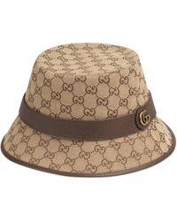 Gucci Monogrammed Canvas Bucket Hat - Natural