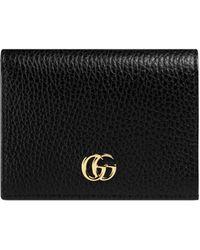 Gucci Portefeuille porte-cartes en cuir - Noir