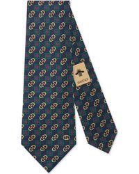 Gucci Cravate en soie à imprimé losanges avec étriers - Bleu