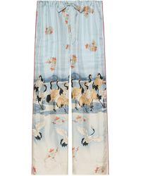 Gucci Online Exclusive Pond Print Pajama Pants - Blue
