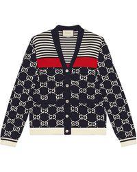 Gucci - Cardigan en maille avec logo GG et bandes - Lyst