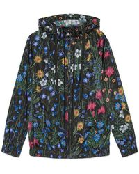 Gucci New Flora Print Nylon Jacket - Blue