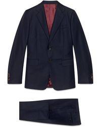 Gucci Traje de lana de corte recto - Azul