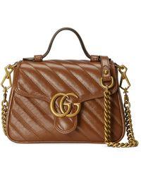 Gucci Mini sac à main gg marmont - Marron