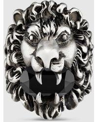 Gucci 【公式】 (グッチ)クリスタル付き ライオンヘッド リングブラック クリスタル Undefined - マルチカラー