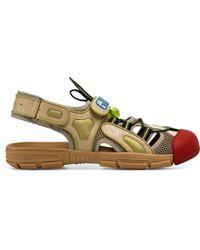 Gucci Herren-Sandale aus Leder und Netz - Natur