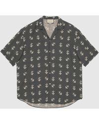 Gucci Übergroßes Bowling Shirt mit Anker Print - Blau