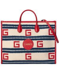 Gucci Cannes Shopper mit Streifenmuster - Rot