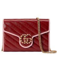 Gucci Mini sac GG Marmont avec chaîne - Rouge
