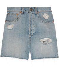 Gucci Eco Washed Organic Denim Shorts - Blue