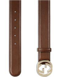 Gucci Interlocking G Buckle Belt - Brown