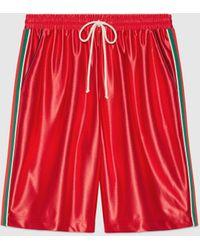 Gucci グッチウェブ ストライプ付き シャイニージャージー ショートパンツ - レッド