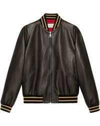 Gucci Blouson aviateur cuir Guccy - Noir