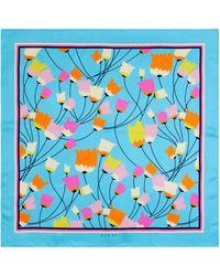 Gucci Pañuelo de seda estampado de tulipanes - Azul
