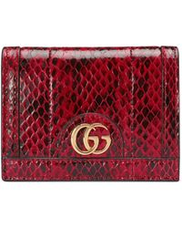 Gucci Ophidia Snakeskin Card Case Wallet - Red