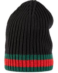 Gucci Striped Knitted Wool Beanie - Black