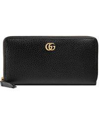 Gucci - Leather Zip Around Wallet - Lyst