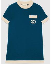 Gucci グッチインターロッキングg ウール ドレス - ブルー