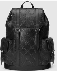Gucci グッチGGエンボス バックパック - ブラック