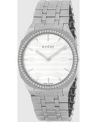 Gucci 【公式】 (グッチ)〔 25h〕クオーツ スチール&ダイヤモンド ウォッチ 34 Mmスチールundefined - メタリック