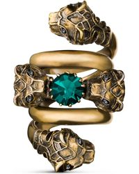 Gucci Double Wrap Ring With Tiger Heads - Metallic