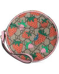 Gucci GG Wrist Wallet With Strawberry Print - Natural