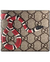 Gucci Kingsnake Print GG Supreme Wallet - Natural
