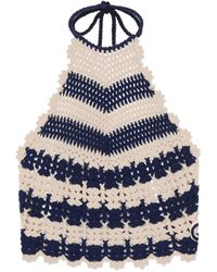 Gucci Striped Crochet Backless Top - Blue