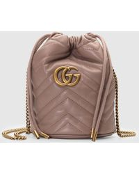 Gucci GG Marmont Mini-Bucket Bag - Braun
