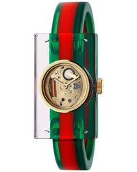 Gucci - Plexiglas Watch With Green And Red Web, 24x40mm - Lyst