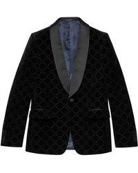 Gucci Chaqueta de terciopelo con gg - Negro